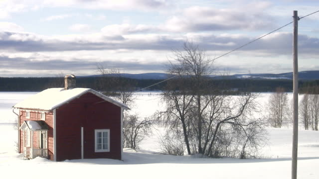 A red wooden house Norrland Sweden.