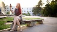 selfie Mädchen mit roten Haaren