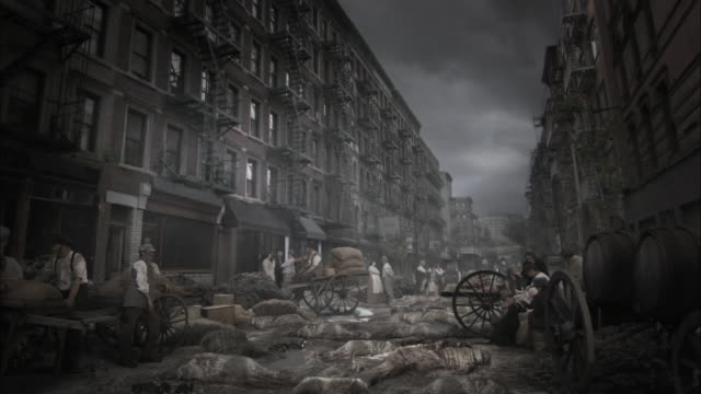 Reenactment depicting piles of dead bodies lying on the streets of the Five Points district of New York City during a cholera epidemic in the 19th century.