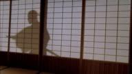 Reenactment medium shot silhouette through shoji screen of samurai using katana / Japan