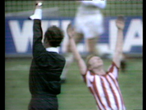 Referee blows whistle for full time sending Sunderland fans and players into rapturous celebrations Bob Stokoe congratulates goalkeeper Jim...