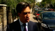 Ed Miliband interview ENGLAND North London EXT Ed Miliband from front gate of house and towards along street/ Ed Miliband MP interview SOT it is...