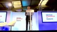 'Britain Stronger in Europe' press launch Stuart Rose speech SOT / Audience cutaways / Backdrop of signs for 'Britain Stronger In Europe' / Sir Hugh...