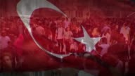 Issue of Turkey membership T28101334 / TX TURKEY Ankara EXT Close shot Turkish flag flying Istanbul Various SLOW MOTION shots people along on crowded...