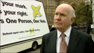 'Yes' and 'No' campaigns in Westminster John Reid unveils 'Labour NO to AV' campaign poster Lord Reid interview SOT Not progressive to give unequal...
