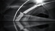 Reflective Floor Background Loop - Abstract Glassy Rings Black & White