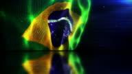 Reflective Floor Background Loop - The Brazilian Flag (Full HD)