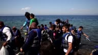 Refugees arrive in Lesbos Island Greece on September 12 2015 after crossing the Aegean sea in aim to reach European countries