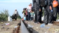 Refugees continue their journey through Europe having entered Hungary alongside a cross border train track near Roszke one of the few sections of the...