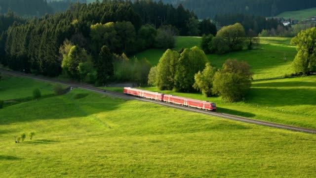 Regional train goes through landscape, Allgau, Bavaria, Germany