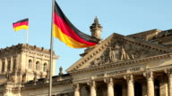 Reichstag in Berlin with two flaggs