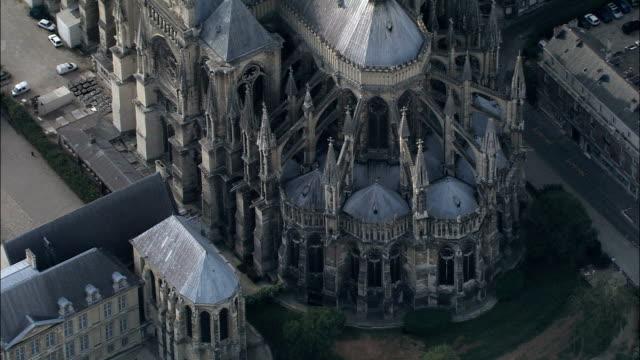 Kathedrale von Reims – Luftaufnahme-Champagne-Ardenne, Marne, Arrondissement de Reims, Frankreich