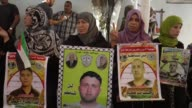 Relatives and family members of Israeliheld Palestinian prisoners stage a protest to demand their release from Israeli detention in front of the...