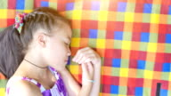 Relaxing Girl on colorful Picnic fabric