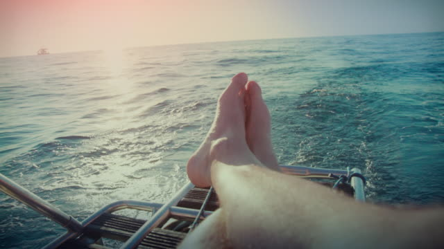 Relaxing POV: yacht sailing boat during cruise