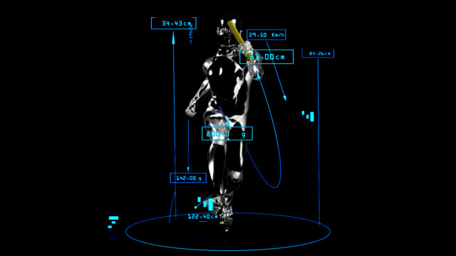 3D relay race man with technical data
