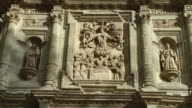 MS Relief showing Assumption of Virgin Mary on Cathedral of Our Lady of the Assumption facade / Oaxaca, Mexico