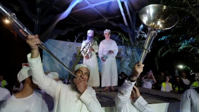 Religious Jews of the priestly caste Kohanim dressed in ceremonial garb and using utensils created especially for use in the Third Temple by the...