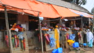MS Religious umbrellas and items shop at Church of St Mary with crosses and religion / Addis Ababa, Ethiopia
