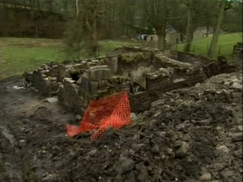 Remains of a 17th century stone cottage discovered during building works near Pendle Hill Lancashire Dec 2011