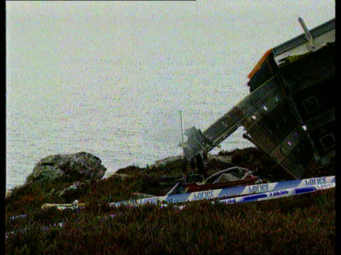 Remembrance services for Chinook crash victims SCOTLAND Mull of Kintyre CMS Crashed Chinook LMS Wrecked Chinook next to edge of cliff LA LMS Crashed...