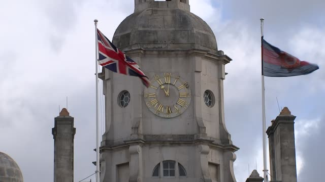 Prince Charles lays wreath on Queen's behalf General view Horse Guards Parade clock tower at 11am Soldier in uniform