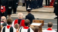 Remembrance Sunday Queen lays wreath at Cenotaph Prince Edward lays wreath / Princess Anne lays wreath and salutes / Clegg Cameron and Brown standing...