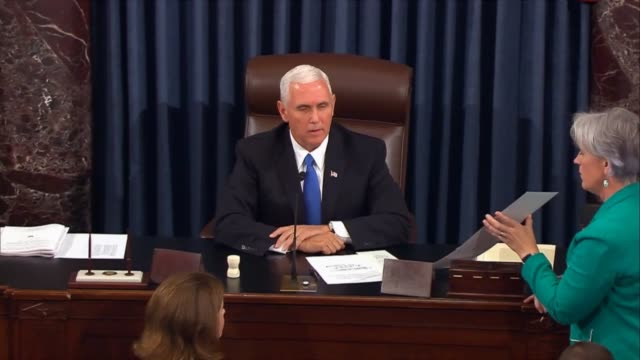 Reminding visitors in the public gallery to restrain themselves Vice President Mike pence announces a tie to vote on the motion to proceed to the...
