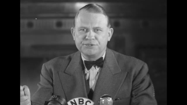 Rep Martin Dies Jr wearing a bow tie sits in front of an NBC microphone as SOT he comments on exposing subversion in the US 'the only way that we can...