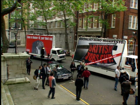 London Smith Square TLMS Conservative campaign lorry along as followed by Labour campaign lorry MS Ditto LAMS Sir Norman Fowler MP and Michael...