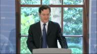 Osborne and Lagarde speeches ENGLAND London INT Chancellor George Osborne MP and IMF Managing Director Christine Lagarde along to platform George...