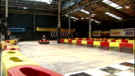 Report on recession victims in Bristol and Birmingham ENGLAND West Midlands Birmingham Teamworks Karting shot from gokart driving around track...