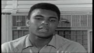 Clay/Cooper Training for World Heavyweight Title Muhammad Ali interview SOT Don't want to say nothing about that will help me not to say nothing...