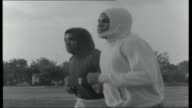 Clay/Cooper Training for World Heavyweight Title USA Miami Mohammed Ali training shadow boxing working out and jogging outside with interview...