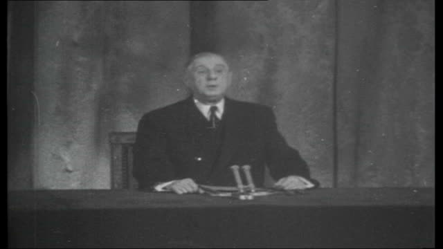 De Gaulle attempts devaluation of the pound January 1963 FRANCE Paris INT De Gaulle press conference SOT Gives reasons for vetoing UK's entry into...