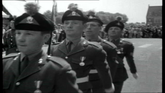France 50th Anniversary of Battle of the Somme FRANCE Somme Albert EXT **Music heard SOT** SHOT along street past the Basilica of Albert Soldiers of...
