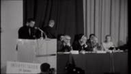 Russell Tribunal on US war crimes in Vietnam Ralph Schoenman reading statement by Russell to the tribunal SOT We investigate in order to expose we...