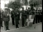 Reports from Athens Rome on latest developments in exile of King Constantine Synd 31267 MS King salutes Guard of Honour CMS/Side Ditto MS Pan King...