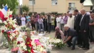Representatives of France's Muslim community laid a wreath at the SaintEtienne church where priest Jacques Hamel was killed on Tuesday by two Islamic...