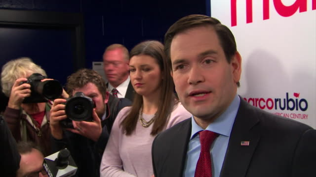 Republican candidate Marco Rubio saying that 'there is no way the party of Lincoln and Reagan will be taken over by a con artist' in reference to...