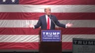 US Republican presidential candidate Donald Trump calls US Democratic candidate Senator Hillary Clinton Crooked Hillary at a rally in Poughkeepsie...