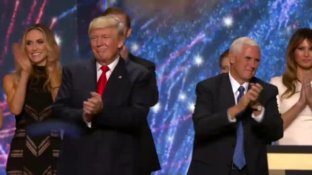 Republican presidential candidate Donald Trump vice presidential candidate Mike Pence and their families celebrate their nominations Balloons and...