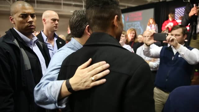 Republican presidential candidate Sen Ted Cruz greets guests during a rally at the Iowa State Fairgrounds January 31 2016 in Des Moines Iowa
