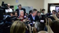 Republican presidential hopeful and former Florida Gov Jeb Bush speaks to the media after holding a town hall style meeting at La Progresiva...