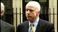 Republican Senator John McCain at Downing Street McCain press conference SOT Expresses gratitude to British Government and servicemen for supporting...