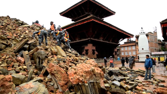 KATHMANDU, NEPAL - APRIL 30, 2015: Rescue team at Phaktapur which was severly damaged after the major earthquake
