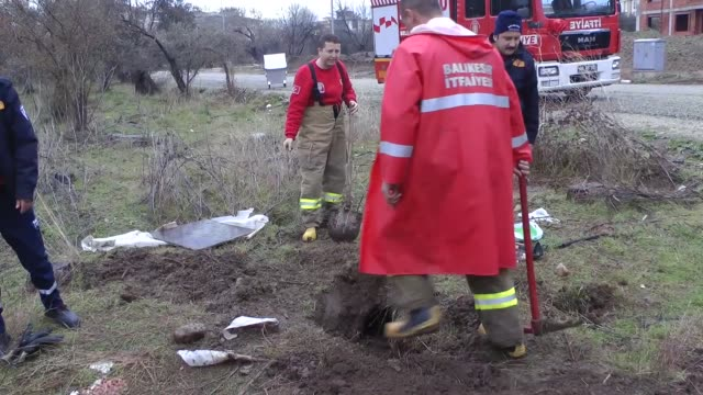 Rescue team of Balikesir Fire Department alarmed by residents of Cennetyatagi district of Edremit town save a bitch and her 8 puppies trapped at the...