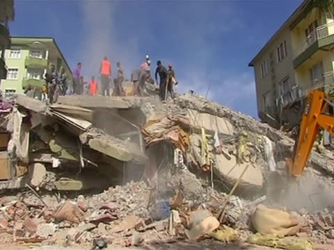 Rescue team tries to rescue trapped people following the earthquake in Turkey