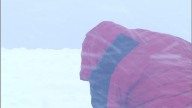 A rescue worker digs through snow with an ice pick during a blizzard.
