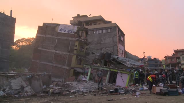 Rescuers are still at work in Kathmandu as the sun sets on the third day after a deadly earthquake struck the country